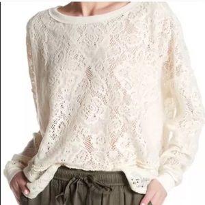 Free People Boho Cream Lace Sweatshirt Small